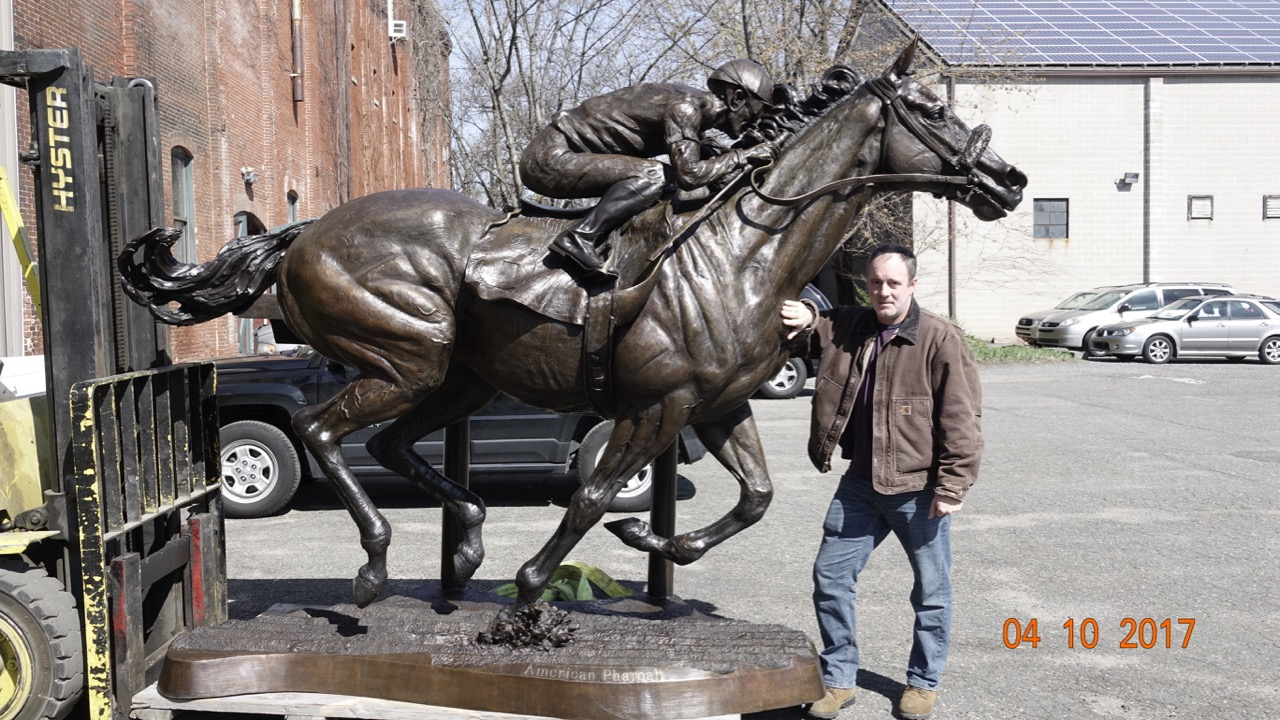American Pharoah, 2017. Full-size bronze of 2015 Triple Crown-winning thoroughbred horse