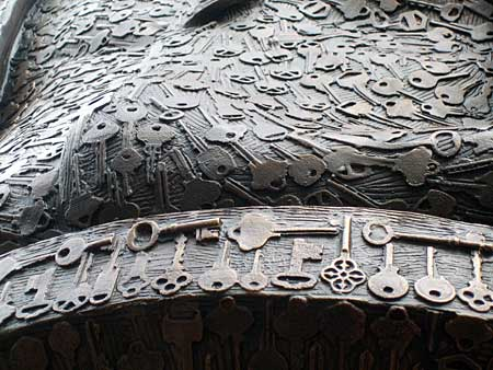 A closeup of some of the 1,000-plus keys cast into the surface of 'Keys To Community,' a bronze sculpture of Ben Franklin in downtown Philadelphia.