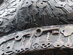 A closeup of the keys cast into the bronze sculpture for downtown Philadelphia