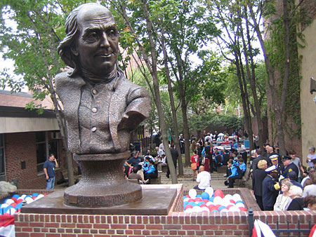 The ceremony was followed by  cheesesteaks in the pocket park behind 'Keys To Community,' a bronze sculpture of Ben Franklin in downtown Philadelphia.