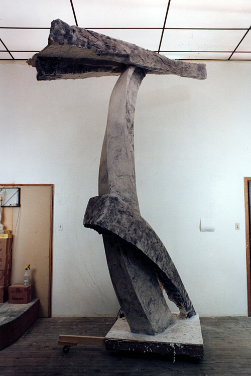 Bridge, a 2002 plaster-and-hemp sculpture by James Peniston.