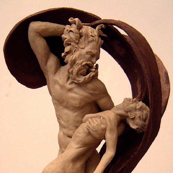 Hades & Antigone, a 2003 clay sculpture by James Peniston. Artist's collection, Philadelphia, Pennsylvania