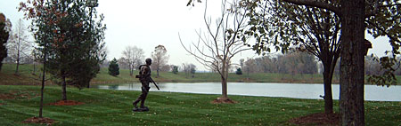 Hunter, a 2000 bronze sculpture by James Peniston. Private collection, near St. Louis, Missouri